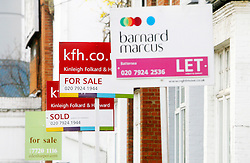 © Licensed to London News Pictures 01/07/2007.Estate Agents 'For Sale' signs in Battersea, Essex..London, UK.Photo credit: Anna Branthwaite/LNP