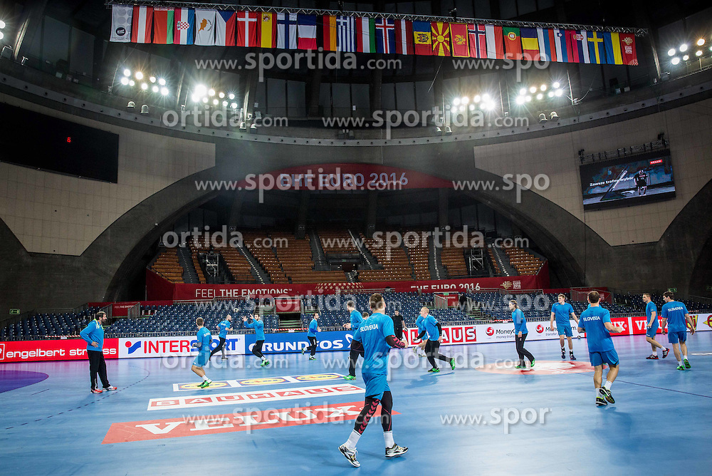 Athletes during practice session of Team Slovenia on Day 1 of Men's EHF EURO 2016, on January 15, 2016 in Centennial Hall, Wroclaw, Poland. Photo by Vid Ponikvar / Sportida
