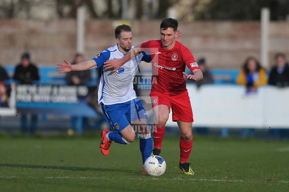 TELFORD COPYRIGHT MIKE SHERIDAN Ross White of Telford  during the Vanarama Conference North fixture between Guiseley and AFC Telford United at Nethermoor Park on Saturday, February 8, 2020.<br /> <br /> Picture credit: Mike Sheridan/Ultrapress<br /> <br /> MS201920-046