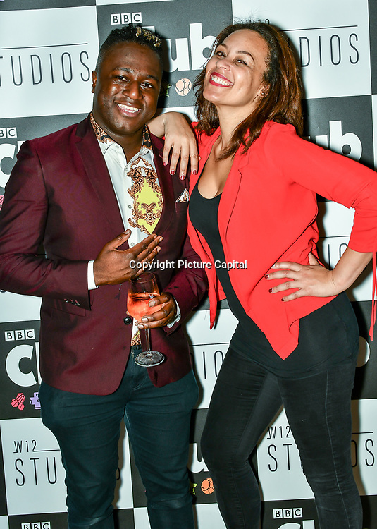 Jordan Charles and Caroline Morgan attend BBC Club at W12 Studios Lunch party on 14 March 2019, London, UK.