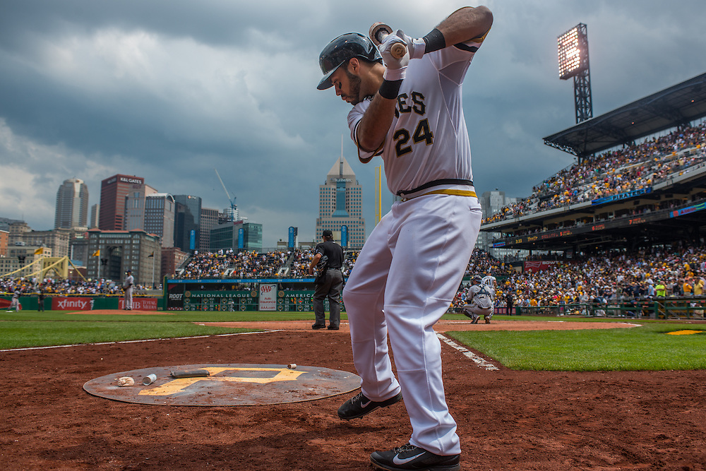 PITTSBURGH, PA - JUNE 08: Pedro Alvarez #24 of the Pittsburgh Pirates warms up on the on-deck circle during the game against the Milwaukee Brewers at PNC Park on June 8, 2014 in Pittsburgh, Pennsylvania. (Photo by Rob Tringali) *** Local Caption *** Pedro Alvarez