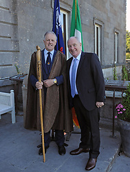 O'Malley Cheiftan Pearse O'Malley with Minister for Rural and Community Development Michael Ring TD at the Chieftians Reception and historical talk that took place at Westport House on friday last.<br />Pic Conor McKeown