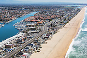 Aerial Stock Photo of Sunset Beach in Huntington Beach California