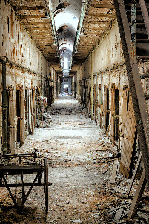 Prison cell block abandoned to the spooks at Eastern State Penitentiary, Philadelphia, PA, USA.