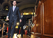 Nick Clegg leaves the stage after addressing the audience at the Citizens UK General Election Assembly.