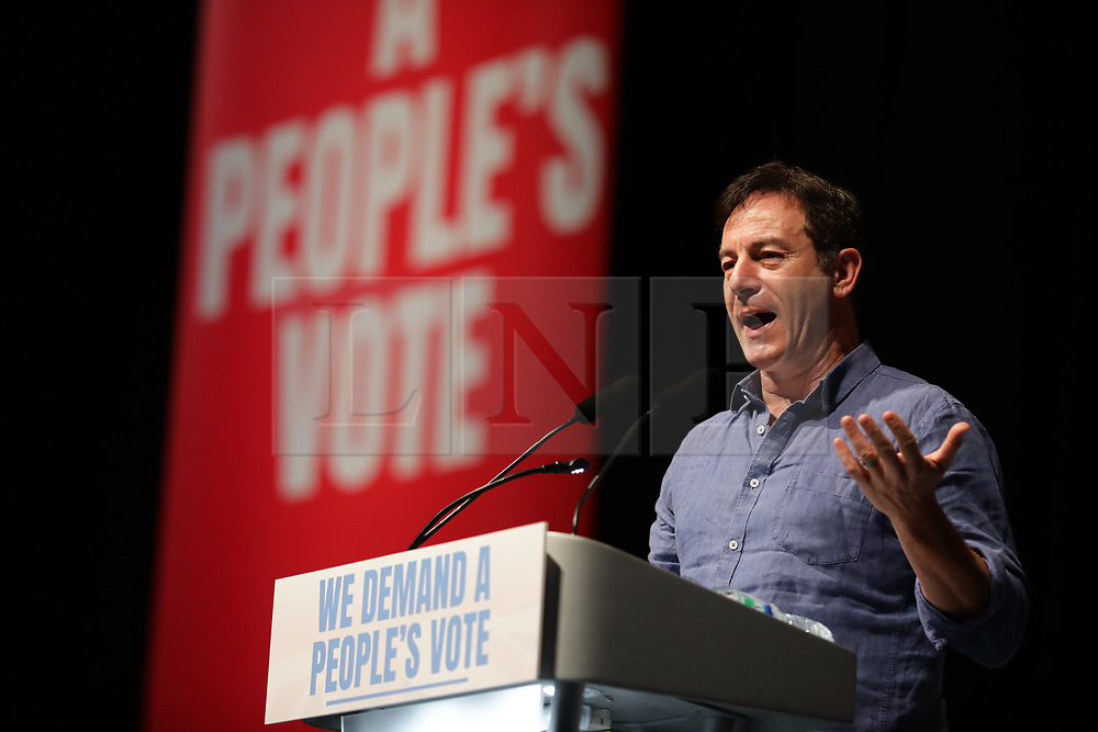 © Licensed to London News Pictures. 09/12/2018. London, UK. Actor Jason Isaacs speaks at a People's Vote rally at the Excel Centre in London. MPs will vote on Prime Minister Theresa May's proposed Brexit deal in the coming week. Photo credit: Rob Pinney/LNP
