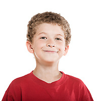little caucasian boy portrait smiling cheerful isolated studio on white background