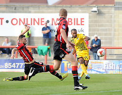 Jermaine Easter of Bristol Rovers gets a shot away - Mandatory byline: Neil Brookman/JMP - 07966 386802 - 03/10/2015 - FOOTBALL - Globe Arena - Morecambe, England - Morecambe FC v Bristol Rovers - Sky Bet League Two