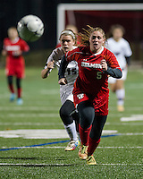 Belmont's Chloe Sottak and Fall Mountain's Dana Dearborn chase down the ball during NHIAA Division III State Championship soccer at Jim Fitzgerald Field on Sunday evening.  (Karen Bobotas/for the Laconia Daily Sun)