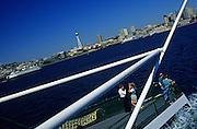 Image of Washington State Ferry from Seattle to Bainbridge Island with Space Needle, Puget Sound, Washington, Pacific Northwest