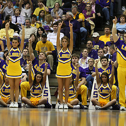 14 February 2009: LSU cheerleaders perform during a NCAA basketball game between SEC rivals the Ole Miss Rebels and the LSU Tigers at the Pete Maravich Assembly Center in Baton Rouge, LA.