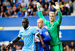 Joe Hart of Manchester City is obstructed by Everton's Steven Naismith  - Mandatory byline: Matt McNulty/JMP - 07966386802 - 23/08/2015 - FOOTBALL - Goodison Park -Everton,England - Everton v Manchester City - Barclays Premier League