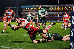 Gloucester Winger (#11) Shane Monahan goes over to score his 4th try of the game as London Irish Full Back (#15) Tom Homer fails to tackle during the second half of the match - Photo mandatory by-line: Rogan Thomson/JMP - Tel: Mobile: 07966 386802 15/12/2012 - SPORT - RUGBY - Kingsholm Stadium - Gloucester. Gloucester Rugby v London Irish - Amlin Challenge Cup Round 4.