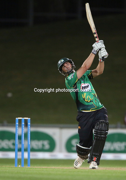 Central's Mathew Sinclair plays a shot in the HRV Cup T20 cricket match between the Central Districts Stags and the Wellington Firebirds at McLean Park, Napier, New Zealand. Friday, 07 December, 2012. Photo: John Cowpland / photosport.co.nz