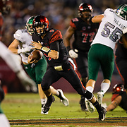 22 September 2018: San Diego State Aztecs quarterback Ryan Agnew (9) scrambles out of the pocket for a short gain in the first quarter. The San Diego State Aztecs beat the Eastern Michigan Eagles 23-20 in over time at SDCCU Stadium in San Diego, California.