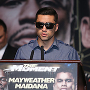 Boxer Carlos Molina speaks during the undercard final press conference for the Mayweather & Maidana boxing match at the Hollywood Theater, inside the MGM Grand hotel on Thursday, May 1, 2014 in Las Vegas, Nevada.  (AP Photo/Alex Menendez)