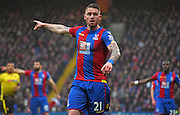 Connor Wickham gives orders during the Barclays Premier League match between Crystal Palace and Watford at Selhurst Park, London, England on 13 February 2016. Photo by Michael Hulf.