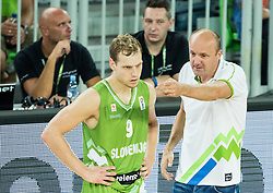 Jaka Blazic of Slovenia and Jure Zdovc, head coach of Slovenia during friendly basketball match between National teams of Slovenia and Australia, on August 4, 2015 in Arena Stozice, Ljubljana, Slovenia. Photo by Vid Ponikvar / Sportida