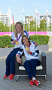 OLYMPIC VILLAGE. Stratford, East London, Great Britain,..Description: GB Rowings  Women's Double Scull: Gold Medalist  sitting Katherine GRAINGER and left, Anna WATKINS..2012 GB Rowing Medal Winners. .. ..09:18:29  Saturday  11/08/2012 [Mandatory Credit: Peter Spurrier/Intersport Images]