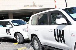 60410288<br /> The convoy of UN investigation team leaves the Four Season hotel in Damascus, Syria, Aug. 30, 2013. The UN chemical investigation team will provide a preliminary report once they complete the probe work in Syria this weekend. The UN team, led by Swedish specialist Ake Sellstrom, was initially set to investigate the March 19 alleged chemical weapons attack on Khan al-Asal in the Aleppo region and two other sites of alleged chemical attacks. They later headed to the Damascus suburb of Ghouta, where chemical weapons were allegedly used on Aug. 21, to collect evidences, <br /> Damascus, Syria, Friday August 30, 2013.<br /> Picture by imago / i-Images<br /> UK ONLY