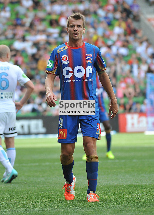 Joel Griffiths (Newcastle Jets) during the Hyundai A- League, round 2 match, between Melbourne City &amp; the Newcastle Jets held at Aami Park Stadium, Melbourne, Victoria on the 19th October 2014.<br /> WAYNE NEAL | SportPix.org.uk