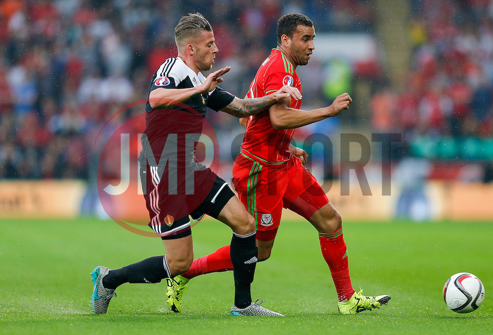 Toby Alderweireld of Belgium (Southampton) and Hal Robson-Kanu of Wales (Reading) compete for the ball - Photo mandatory by-line: Rogan Thomson/JMP - 07966 386802 - 12/06/2015 - SPORT - FOOTBALL - Cardiff, Wales - Cardiff City Stadium - Wales v Belgium - EURO 2016 Qualifier.