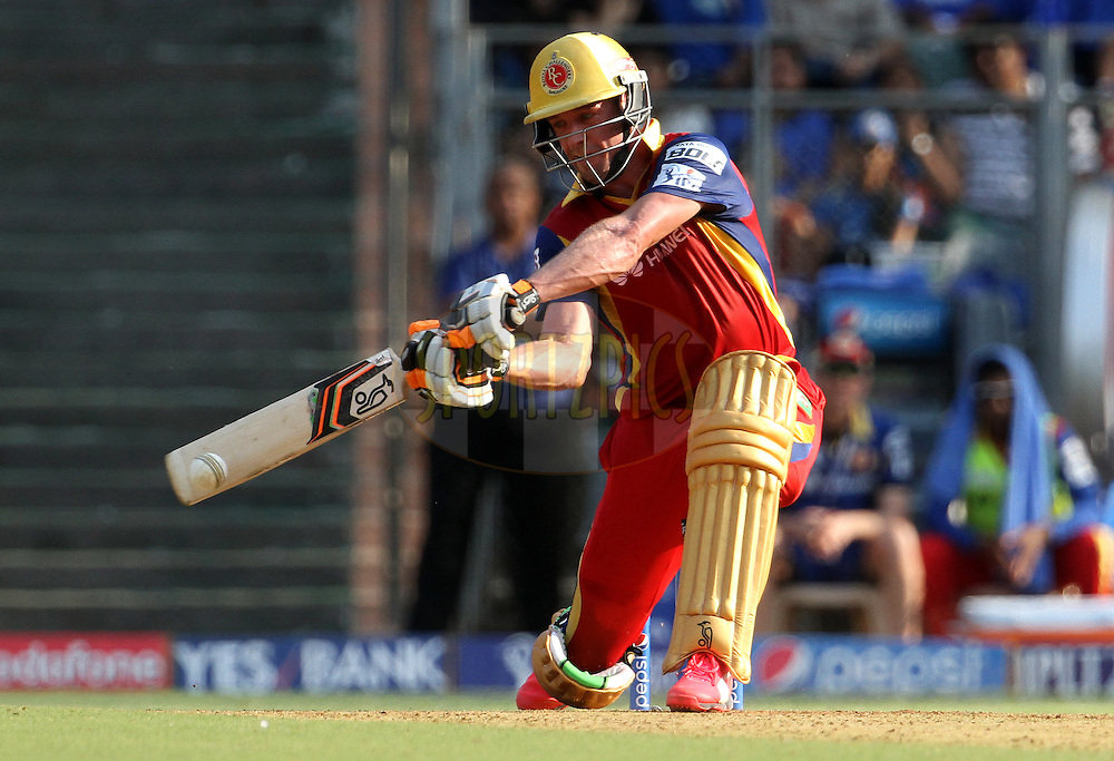 Royal Challengers Bangalore player AB De Villiers plays a shot during match 46 of the Pepsi IPL 2015 (Indian Premier League) between The Mumbai Indians and The Royal Challengers Bangalore held at the Wankhede Stadium in Mumbai, India on the 10th May 2015.<br /> <br /> Photo by:  Vipin Pawar / SPORTZPICS / IPL