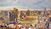 Postcard from Russia showing mass burial of civilians after a German attack circa 1942
