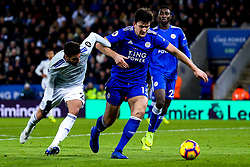 Victor Camarasa of Cardiff City takes on Harry Maguire of Leicester City - Mandatory by-line: Robbie Stephenson/JMP - 29/12/2018 - FOOTBALL - King Power Stadium - Leicester, England - Leicester City v Cardiff City - Premier League