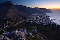 Stunning sunset view of Twelve Apostles and Table Mountain from Lion's Head, Cape Town, Cape Province, South Africa
