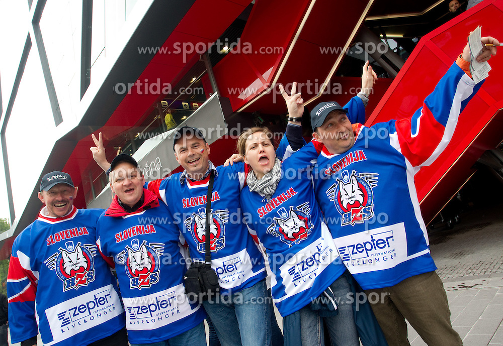 Fans of Slovenia prior to the ice-hockey match between Slovenia and Germany of Group A of IIHF 2011 World Championship Slovakia, on May 3, 2011 in Orange Arena, Bratislava, Slovakia. (Photo By Vid Ponikvar / Sportida.com)