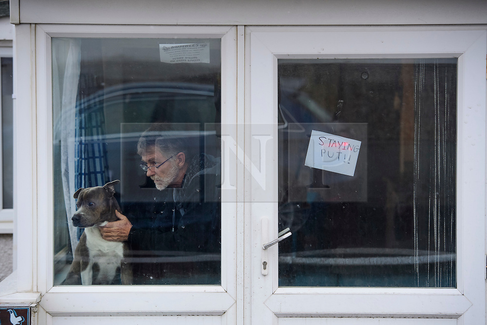 """© Licensed to London News Pictures. 13/01/2017. Jaywick, UK. A man and his dog look out of their window, next to a sign reading """"STAYING PUT!!""""  on the seafront at Jaywick where homes were expected to evacuated due to the threat of flooding in low-lying areas . Photo credit: Ben Cawthra/LNP"""