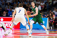 Real Madrid's player Luka Doncic and Unicaja Malaga's player Adam Waczynski during match of Liga Endesa at Barclaycard Center in Madrid. September 30, Spain. 2016. (ALTERPHOTOS/BorjaB.Hojas)