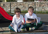 Iarflaith Canny and Fionn O'Ceallaigh 4th class pupils from Scoil Sailearna, Inverin, Co. Galway who will be presented with medals for their prize-winning original stories at this year's Write a Book / Scríobh Leabhair competition, run by Galway Education Centre, in the Radisson blu Hotel on Thursday 30th April.  Photo:Andrew Downes