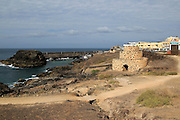 Historic fortification village fishing harbour at El Cotillo, Fuerteventura, Canary Islands, Spain