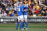 Ryan Taylor of Portsmouth celebrates scoring his side's first goal .Skybet football league two match, Newport county v Portsmouth at Rodney Parade in Newport, South Wales on Saturday 29th March 2014.<br /> pic by Mark Hawkins, Andrew Orchard sports photography.