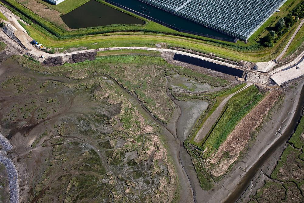 Nederland, Zeeland, Oosterschelde, 12-06-2009; Verdronken land van Zuid-Beveland, onderdeel van de Oosterschelde, ter hoogte van het vroegere haventje van RattekaaiDe zeedijk wordt verbeterd en voorzien van nieuwe bekleding, aan de landzijde kassen. Swart collectie, luchtfoto (25 procent toeslag); Swart Collection, aerial photo (additional fee required).foto Siebe Swart / photo Siebe Swart
