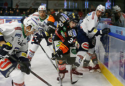 06.12.2015, Eisstadion Liebenau, Graz, AUT, EBEL, Moser Medical Graz 99ers vs EC VSV, 28. Runde, im Bild Valentin Leiler (EC VSV), Eric Hunter (EC VSV), Rupert Strohmeier (Moser Medical Graz 99ers) und Miha Verlic (EC VSV) // during the Erste Bank Icehockey League 28th Round match between Moser Medical Graz 99ers and EC VSV at the Ice Stadium Liebenau, Graz, Austria on 2015/12/06, EXPA Pictures © 2015, PhotoCredit: EXPA/ Erwin Scheriau
