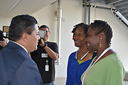 Superintendent Richard Carranza tours the new Milby High School.