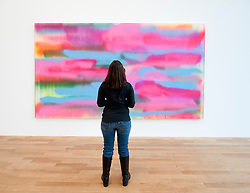 Woman looking at modern art painting By Katharina Grosse at Bonn Kunstmuseum in Germany