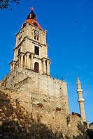 Grece, Dodecanese, Rhodes, ville de Rhodes, patrimoine Unesco, la Tour de l'Horloge // Greece, Dodecanese, Rhodes island, Rhodes city, Unesco word heritage, Clock Tower