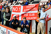 Leicester City fans with a No.1 flag for Kasper Schmeichel (1) Goalkeeper of Leicester City before the Premier League match between Bournemouth and Leicester City at the Vitality Stadium, Bournemouth, England on 30 September 2017. Photo by Graham Hunt.