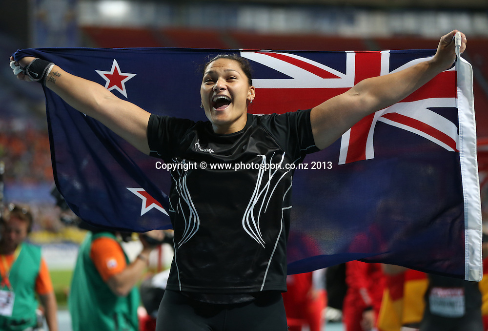 MOSCOW, RUSSIA - AUGUST 12:  Valerie Adams of New Zealand celebrates winning the Women's shot Put during Day Three of the 14th IAAF World Athletics Championships Moscow 2013 at Luzhniki Stadium on August 12, 2013 in Moscow, Russia. (Photo by Ian MacNicol)
