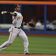 Jimmy Paredes, Baltimore Orioles, makes an out from second base during the New York Mets Vs Baltimore Orioles MLB regular season baseball game at Citi Field, Queens, New York. USA. 5th May 2015. Photo Tim Clayton