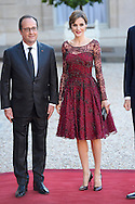 France Presidente Franc?ois Hollande, King Felipe VI of Spain and Queen Letizia of Spain attend a Gala Dinner at the Elysee Palace on June 2nd, 2015 in Paris