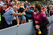 Peter Trego of Somerset goes to the crowd in the stands during the winners celebrations during the Royal London 1 Day Cup Final match between Somerset County Cricket Club and Hampshire County Cricket Club at Lord's Cricket Ground, St John's Wood, United Kingdom on 25 May 2019.