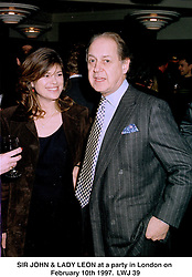 SIR JOHN & LADY LEON at a party in London on February 10th 1997.LWJ 39