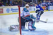 KELOWNA, CANADA - FEBRUARY 12:  Matthew Phillips #11 of the Victoria Royals score the first goal of the game on a penalty shot as James Porter #1 of the Kelowna Rockets tries to make the save at the Kelowna Rockets game on February 12, 2018 at Prospera Place in Kelowna, British Columbia, Canada.  (Photo By Cindy Rogers/Nyasa Photography,  *** Local Caption ***