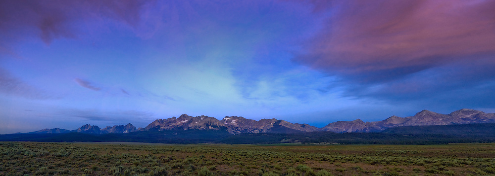 The Sawtooth Peaks rise for the high desert floor of the Stanley Basin in central Idaho.