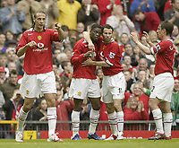 Photo: Aidan Ellis.<br /> Manchester United v Charlton Athletic. The Barclays Premiership. 07/05/2006.<br /> united celebrate the third goal an own goal by Jason Eull